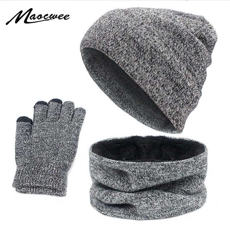Girl Women Solid Warm Soft Cotton Beanie Hat Scarf Set With Lining Heater Thick Infinity Scarf Smart Touch Screen Texting Gloves