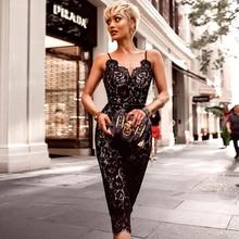 INDRESSME Sexy Deep V Backless Lace Mini Women Bandage Party Dress Fashion Spaghetti Strap Black Bodycon Dress Vestidos 2018