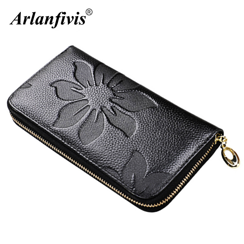 Genuine leather New 2018 Brand Fashion Long Purse Embossed Flower Bag Women wallet Lady Carteira Feminina Portefeuille billetera