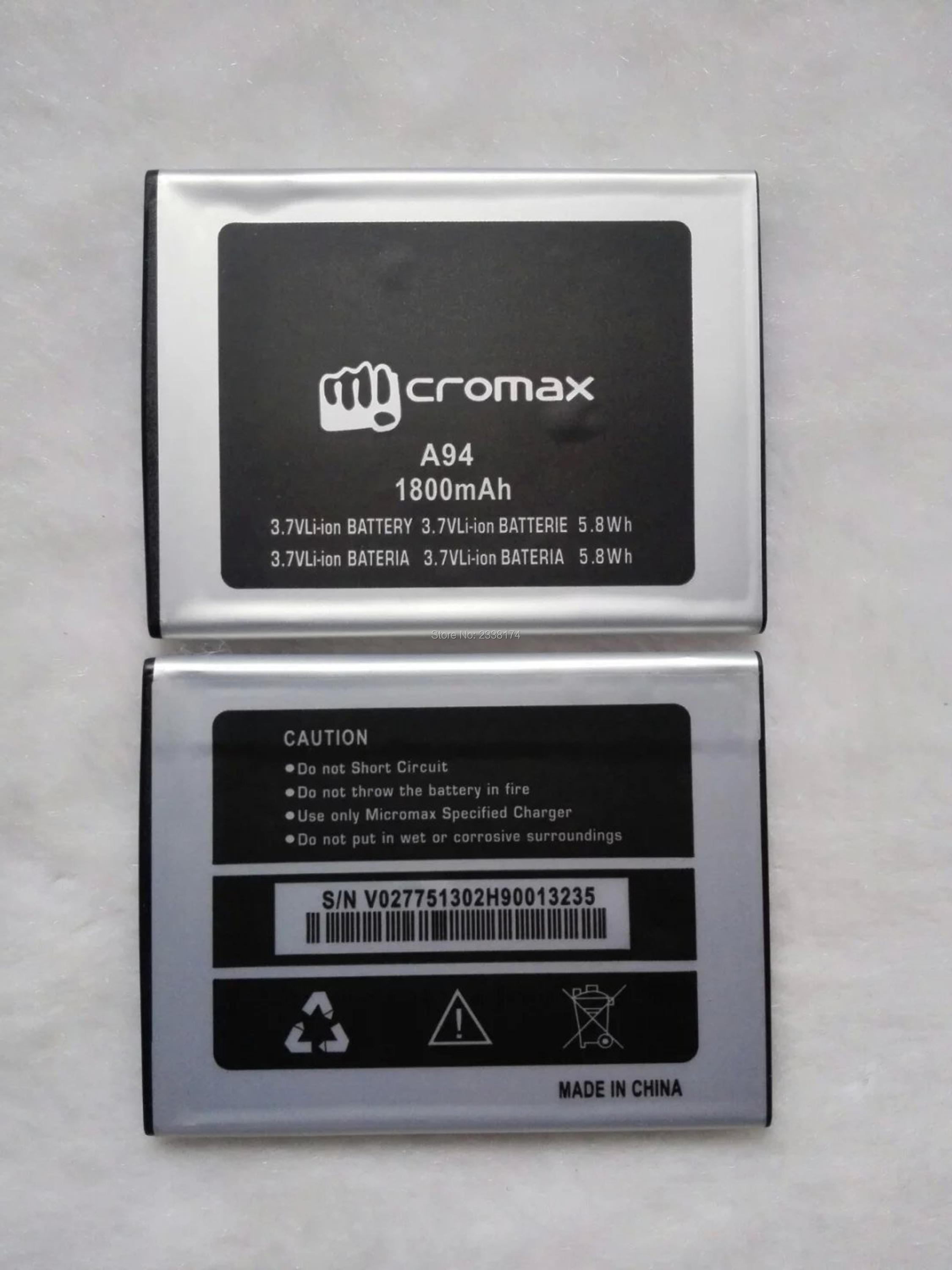 1pcs 100% high quality Micromax A94 1800mAh Mobile Phone Replacement Battery Freeshipping+Tracking Code