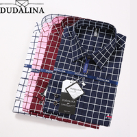 DUDALINA 2018 Male Shirt Camisa Plus Size Casual 100% Cotton Mens Dress Shirt Slim Fit Plaid Shirt Long sleeve Men Shirt