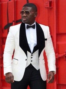 New White Men Suits Shawl Lapel Groom Tuxedos Wedding Suits for Men 4 Pieces (Jacket+Pants+vest+tie) Groomsman Suits Custom