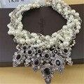 Moda Elegent Negro Gems Declaración Gargantillas Cadena Chunky Collar de Perlas Simuladas Collares Joyería Étnica de la Mujer dz091
