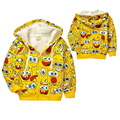 Retail 1pc! New 2015 Children's cartoon jacket baby & kids SpongeBob thick Hoodies sweatshirts girls Warm coat boys outerwear
