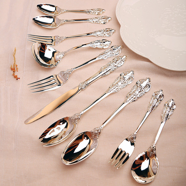 10/20pcs Silver Plated Tableware Steak knife Teaspoon Forks Cutlery set Dinnerware Christmas Tableware Wedding  sc 1 st  AliExpress.com : silver plated silverware set - pezcame.com