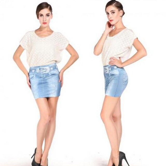 213fbe0e4d Sexy Ladies azul Denim elástico Skinny Jeans imitación bolsa Hip corta Mini  falda AP