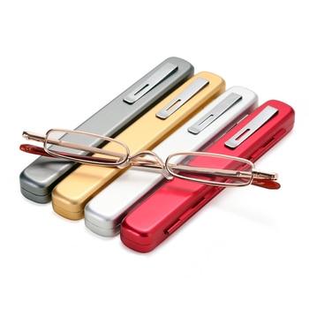 Unisex Portable Metal Frame Reading Glasses Hot Slim Small Mini Metal Reading Glasses Reader +1.00 to +4.00