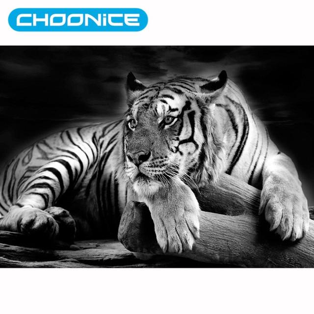 Tiger Mewarnai Gambar Berlian Mosaik 3d Diy Hitam Dan Putih Harimau