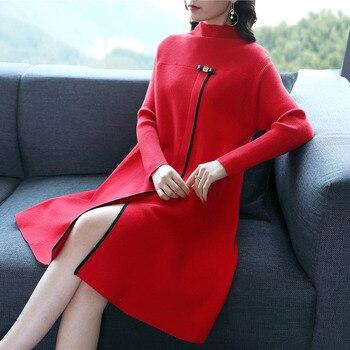 2018 nueva moda Otoño e Invierno de las mujeres de manga larga de punto suéter vestido de cuello alto estilo chino split side vestidos rojos