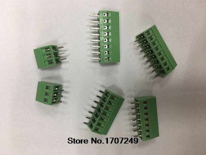 цена на 50PCS 2.54MM PITCH SPRING TERMINAL BLOCKS CONNECTOR 2/3/4/5/10-20P KF120 STRAIGHT PIN COPPER SCREW PCB TERMINALS RoHS