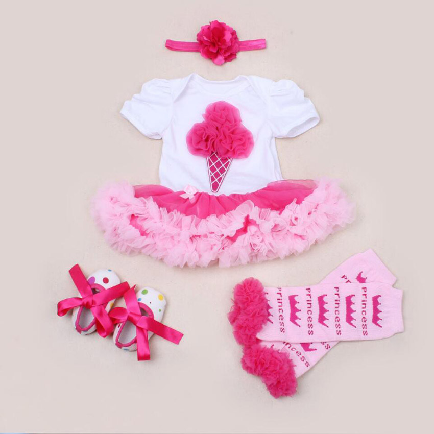 4PCs per Set Hot Pink and Colorful Cream1st 2nd Baby Girls Birthday Party Dress Jumpersuit Headband Shoes for 0-24Months