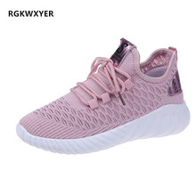 RGKWXYER New Breathable Womens Shoes Mesh Flat Casual Walking Sneakers Loafers Soft Female Running 2019