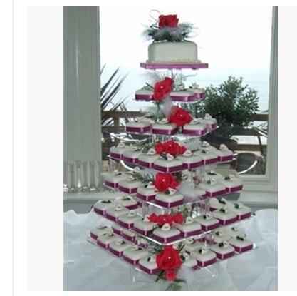 Groothandel 7 Tier Vlinder Acryl Cupcake Stand GRATIS VERZENDING decoratie
