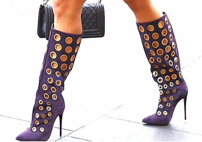 Sexy Winter Women Knee High Boots Cut-outs Polka Dot Boots Pointed Toe High Heel Women Suede Shoes Fashion Gold Holes Boots high neck polka dot top
