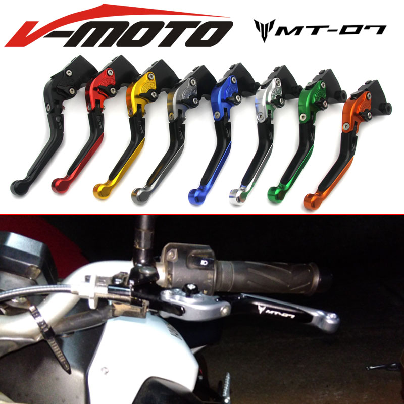 For YAMAHA MT-07 MT 07 2014-2015 Motorcycle Accessories Adjustable Folding Extendable Brake Clutch Levers LOGO MT-07 Titanium adjustable long folding clutch brake levers for kawasaki z1000 07 08 09 10 11 12 13 14 15 z1000sx tourer 2012 2013 2014 2015