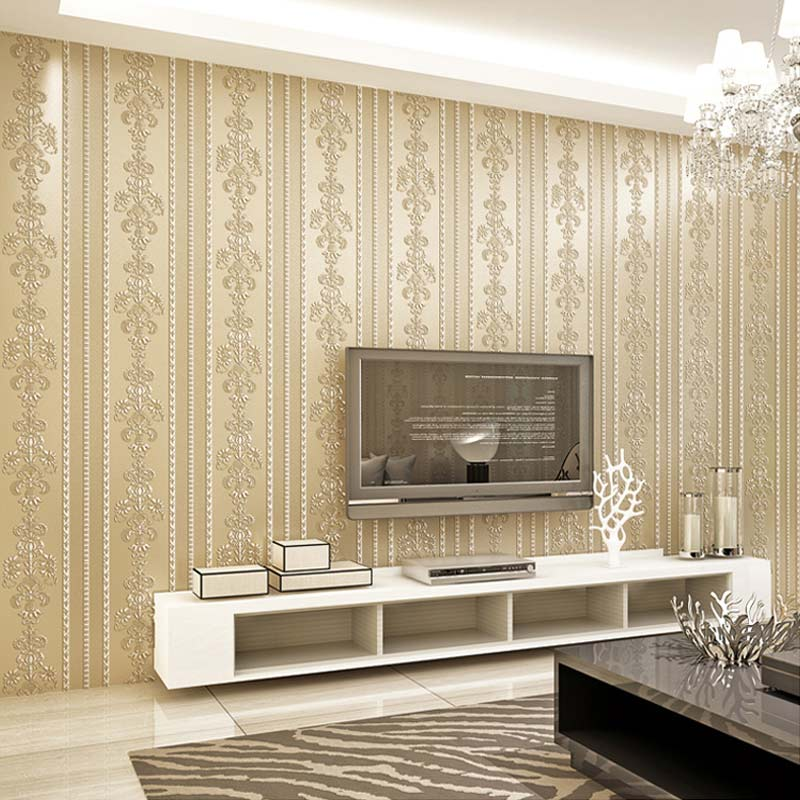 Modern Damask Stripe Non-Woven Flocking Wallpaper Papel De Parede Floral Wall Paper Roll For Living Room Bedroom Sofa Background
