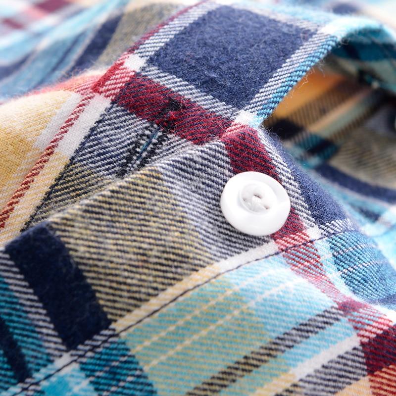 2018 Damesmode geruit hemd Vrouwelijk College stijl Blouses Lange - Dameskleding - Foto 5