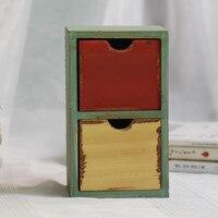 雑貨木箱ヴィンテージ家の装飾収納ボックス引き出しオーガナイザーデスクトップ収納木箱11.7*9.8*19.5セン
