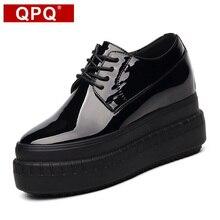 QPQ Nouveau Femmes Oxford Lacent Creux Plate-Forme Métallique Noir De Mode Vintage 9 cm Super Haute Plate-Forme Taureau Plat Femelle chaussures