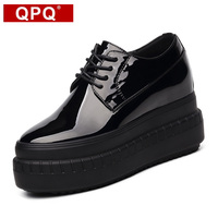 QPQ New Womens Oxford Lace Up Hollow Platform Metallic Black Fashion Vintage 9cm Super High Platform