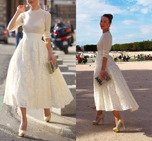 Simple 2016 Promotion On sale A-Line Short Gown Fully Lace Full Sleeve White Evening dress Formal Long Women Prom Dresses