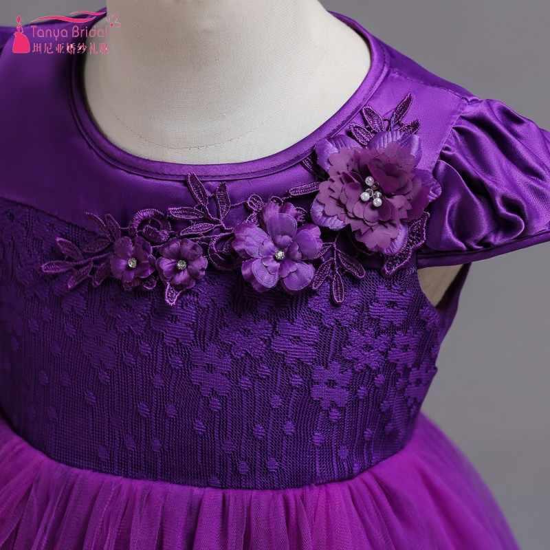 נסיכת בורגונדי תחרה פרח ילדה שמלות 2018 טול בנות תחרות שמלות ראשית הקודש שמלות ילדים שמלות ערב 839