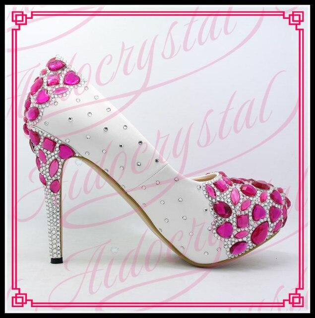 Aidocrystal 2017 new bridal shoes size 43 white high heels for women  fuchsia diamond decor wedding shoes bridesmaid shoes a585053f8f6a