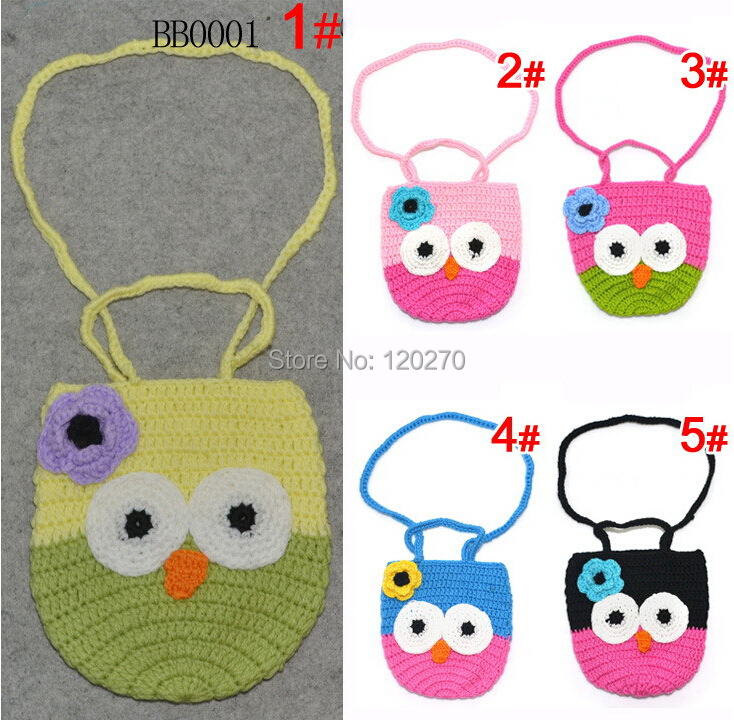 Free Shipping Crochet Owl Purse Knitted Baby Girl Wallet Handmade