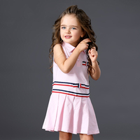 Girls Pink White Dress 2017 Brand Princess Dresses Sleeveless Striped Design Polo Collar Girls Clothes Party