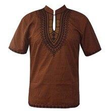 Africa Embroidery Men`s Dashiki Tops Mandarin Neck Slim Ethnic Shirts for Summer Wearing цена и фото