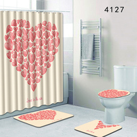 Shower Curtain Bathroom Mat Set Printing Shower Curtain Bathroom Mat Non Slip Toilet Lid Cover Rug Set