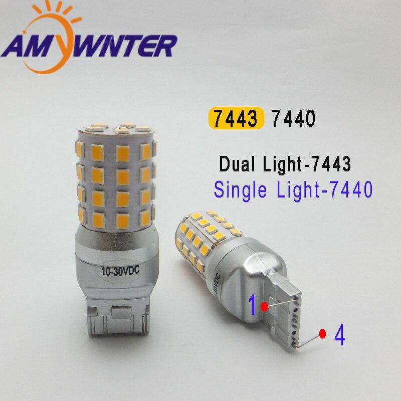 AMYWNTER Auto Lampe 12 v 7440 T20 led 7443 Dual Licht Funktion W21/5 watt Blinker Lampe autos lichter warm weiß Gelb Bernstein