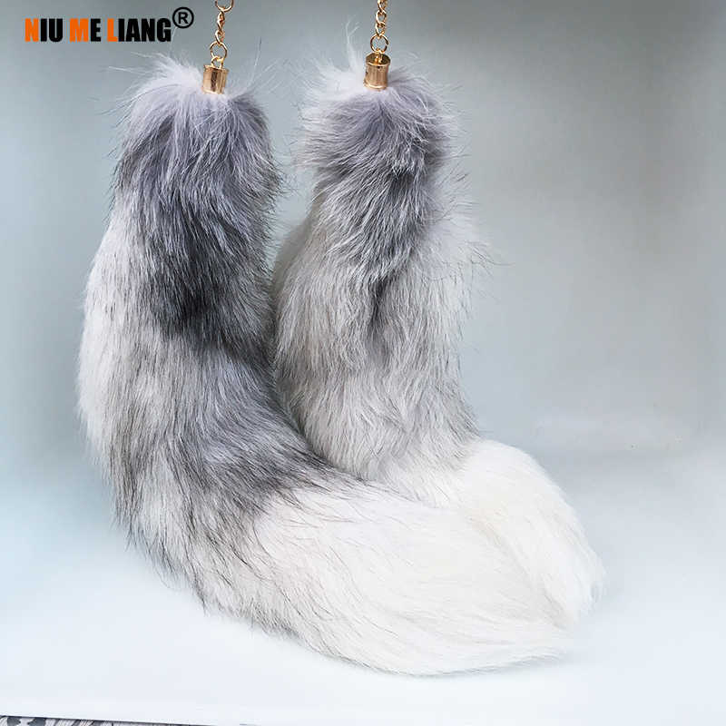 e5ac79455c3 Large Grey Fox Fur Tail Natural fox fur keychain Anal plug Tassel Car Key  ring Bag