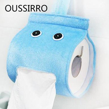 Home Cute Cartoon Toilet Paper Holder With Sling Cloth Storage Shelf For Kitchen Roll Paper Storage Rack Bathroom Accessories