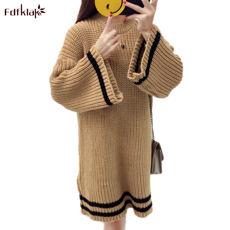 Fdfklak Thick Warm Spring Autumn Winter Dress Women Long Sleeve Pullover Sweater Knit Wool Dress Student's Knitted Dresses t100 children sweater winter wool girl child cartoon thick knitted girls cardigan warm sweater long sleeve toddler cardigan