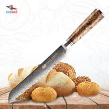 FINDKING AUS-10 damascus steel Sapele wood handle arrow pattern damascus knife 8 inch Bread knife 67 layers kitchen knives(China)