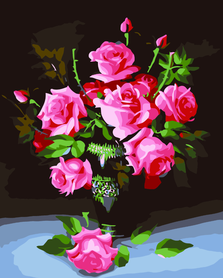 2017 new diy oil painting by numbers landscape rose flower New flower decoration
