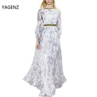 2017 High Quality Autumn Winter Runway Designer Dress Women's Long sleeve Gauze Retro Noble printing Long Dress YAGENZ A016