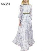 2017 Classic Autumn Winter Runway Designer Dress Women S Long Sleeve Gauze Retro Noble Printing Long