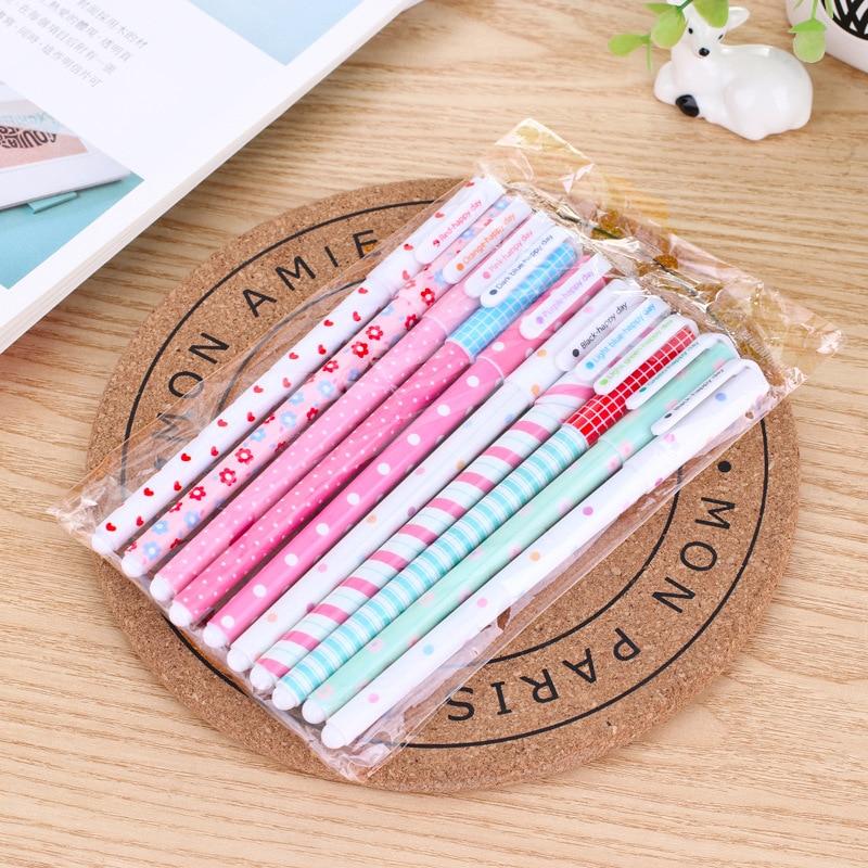 2018 New 10 Pcs/Color Gel Pen Kawaii Stationery Korean Flower Canetas Escolar Papelaria Gift Office School Supplies