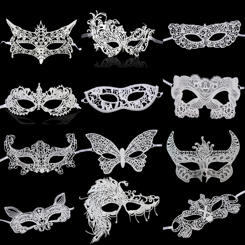Wholesale 1 Pcs White Lace <font><b>Masks</b></font> <font><b>sexy</b></font> lace half face party Masquerade <font><b>Mask</b></font> Cosplay <font><b>Masks</b></font> for Girls Head Lace <font><b>Sexy</b></font> <font><b>Mask</b></font> Carnival image