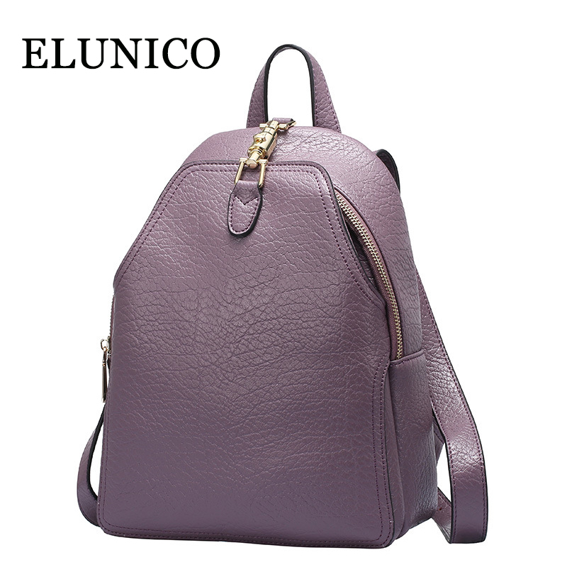 ELUNICO Genuine Leather Women Backpack Large Capacity Casual Women Black Backpacks Fashion Solid School Bags for Teenager Girls high quality pu leather women backpack fashion solid school bags for teenager girls large capacity casual women black backpack l