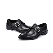 QYFCIOUFU Fashion Genuine Leather Shoes Men Dress Shoe Monk Strap Oxfords Shoes For Men Designer Hasp Men Formal Shoes