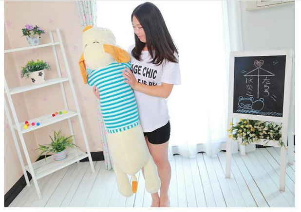 huge plush dog pillow toy lying dog doll in blue stripe cloth gift about 145cm 0182