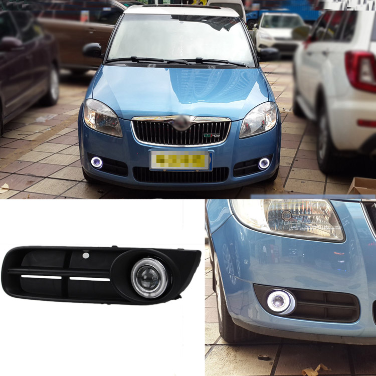 Brand New Superb LED COB Angel Eyes+HID Lamp Projector Lens Foglights For Skoda Fabia 2008-2011 аксессуар чехол lenovo ideatab s6000 g case executive white