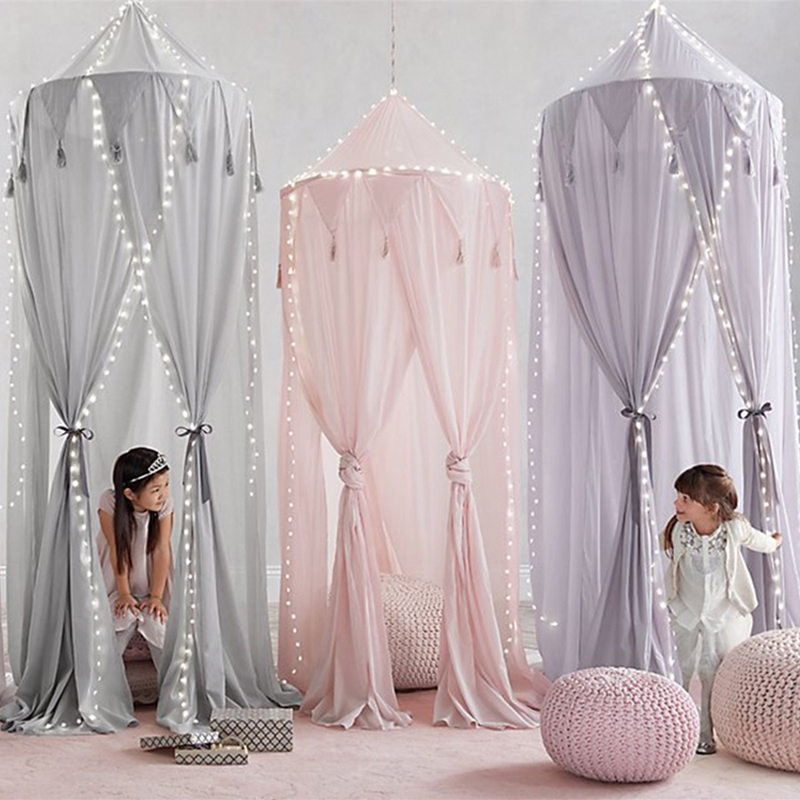 Ins new fringed chiffon 3 door bed mantle pennant 0 8 years old children lace baby mosquito net tent Princess Room decoration