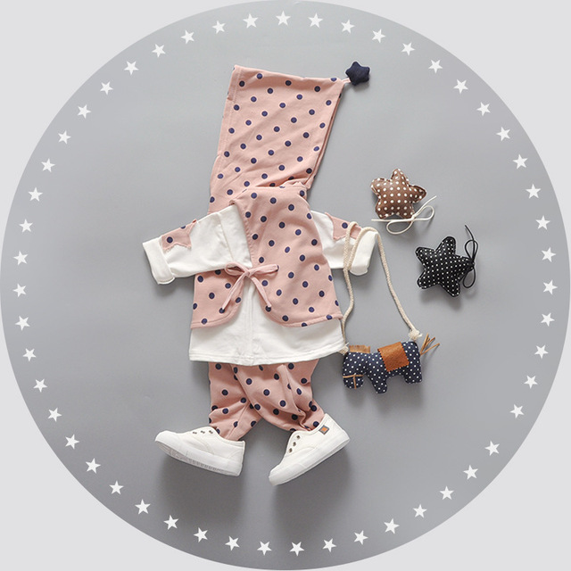 New Baby Girl Clothes Long Sleeve Autumn Cozy Newborn Baby Clothing Cute Polka Dot Children Baby Outfit Fashion Baby Sets