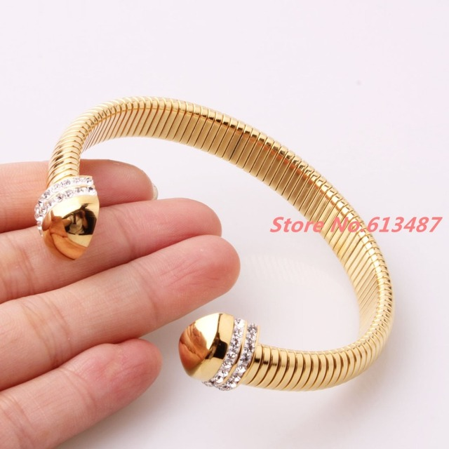 New Charming Novelty Gold Plated Stainless Steel Women's Cuff Bangle With top Crystal CZ Jewelry Round Bracelet Christmas Gift