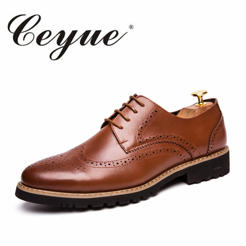 Ceyue New Autumn Classic Brogue Oxford Men Casual Shoes Brand Handmade Walking Flat Men Leather Shoes Lace Up Mens Dress Shoes symrun original sports wireless bluetooth earphones stereo earbuds bass headsets with mic in ear headphone wireless bluetooth