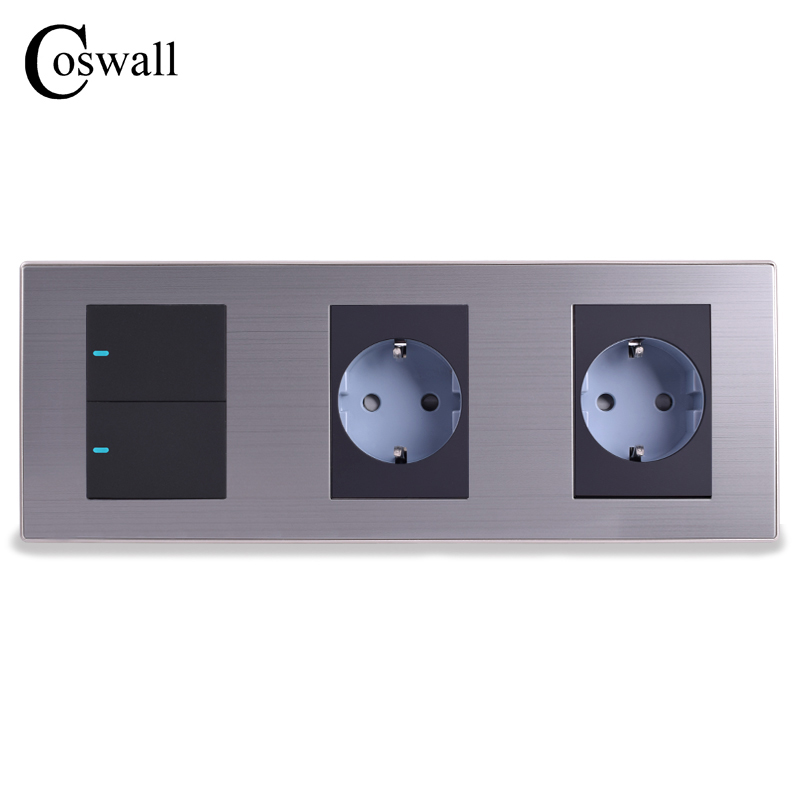 Coswall 16A EU Standard Wall Double Socket + 2 Gang 1 Way Light Switch With LED Indicator Stainless Steel Panel 236*86mm scinder switched socket package 15 steel frame two or three five hole electrical outlet wall switch panel switch